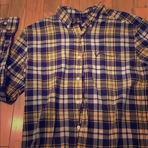 Men's plaid dress shirt. Navy and Gold.